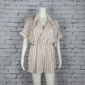 Maje White and Red Striped Playsuit